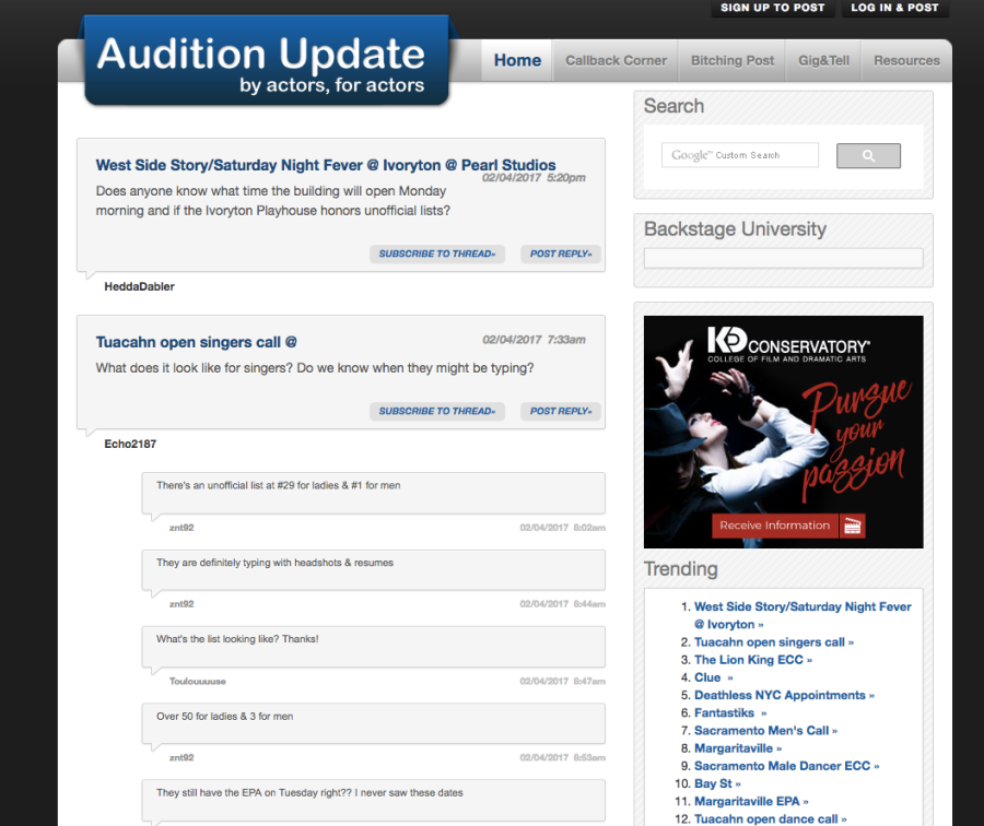 audition-update-home-page